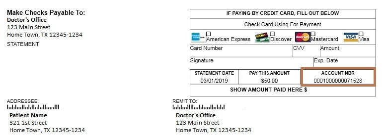 Account statement with account number emphasized to show where to find account number